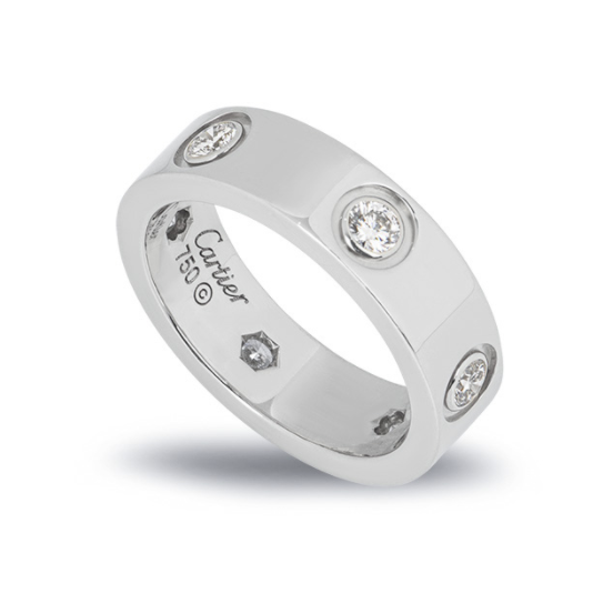 Cartier White Gold Full Diamond Love Ring