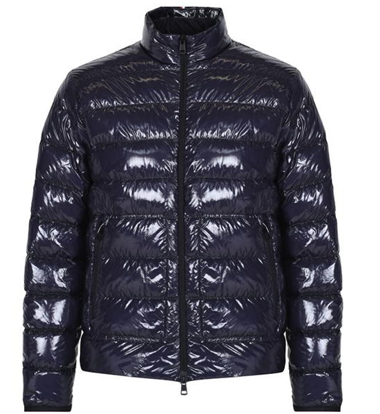 Moncler Men's Navy Glossy Laque Zip jacket