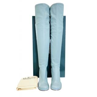 Mulberry Pale Blue Leather OTK Boots