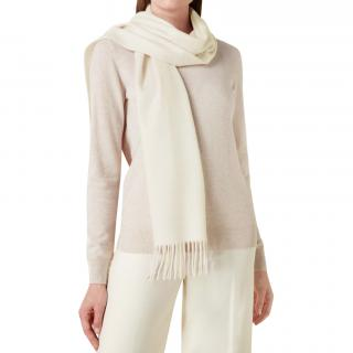 N.Peal Ivory Cashmere Scarf