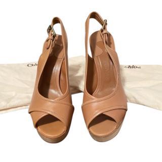 Chloe Tan Block Heel Slingback Leather Sandals