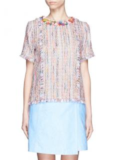 MSGM Embellished Tweed Floral Top