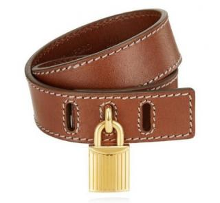 Tom Ford Brown Leather Wrap Padlock Bracelet