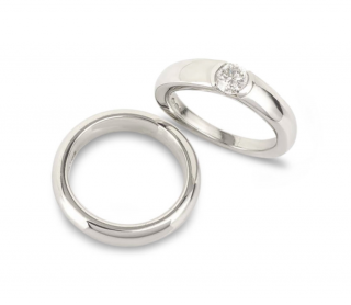 Asprey Platinum Diamond Ring & Platinum Band