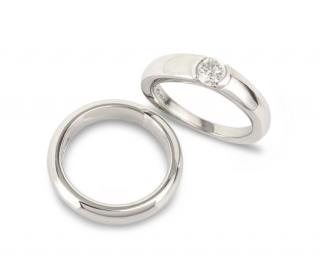 Asprey Platinum Diamond Ring & Platinum Band