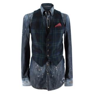 Dsquared2 Blue Denim Distressed Vest Detail Shirt