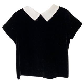 Bonpoint Black Couture Velvet Collared Top