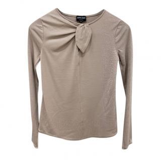Giorgio Armani Wool & Silk Bow Detail Top