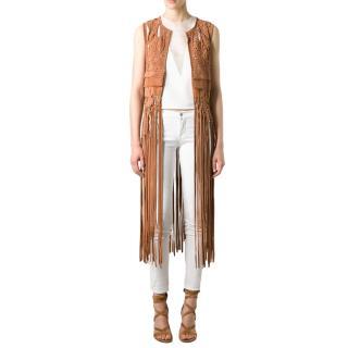 Alberta Ferretti Tan Lasercut Calfskin Waistcoat