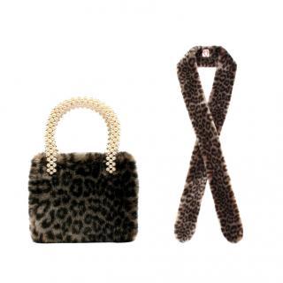 Shrimps Faux Fur Leopard Print Pearl Handle Bag & Scarf