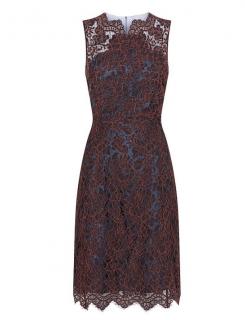 Carven Red/Blue Lace Midi Dress
