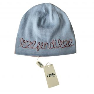 Fendi Blue & Pink Knit Embroidered Beanie