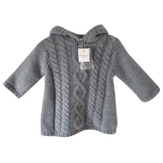 Bonpoint Grey Hooded Cable Knit Jumper