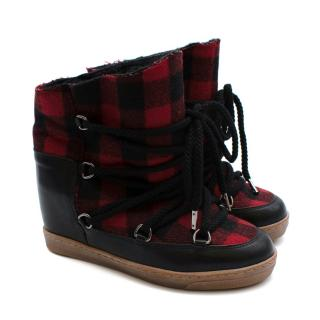 Isabel Marant Red Nowles Leather & Wool Wedge Heel Snow Boots