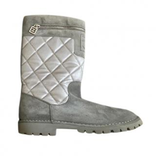 Chanel Grey/Silver Suede & Leather Biker Boots