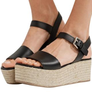 Prada Black Leather Raffia Wedge Sandals
