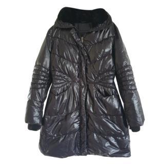 Ermanno Scervino  Black Fur Trimmed Puffer Coat