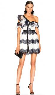 Self Portrait White & Navy Guipure Lace Off-Shoulder Mini Dress