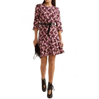 Anna Sui Crepe Printed Flounce Mini Dress