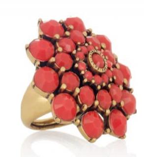Oscar De La Renta Gold Plated Cabochon Ring