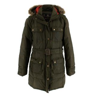 Barbour Green Faux Fur Trimmed Storm Down Wax Jacket