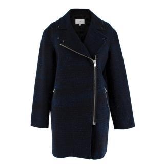 Sandro Navy Wool Blend Biker Style Coat