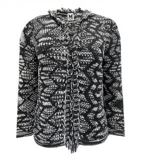 M Missoni Black & White Fringed Cardigan