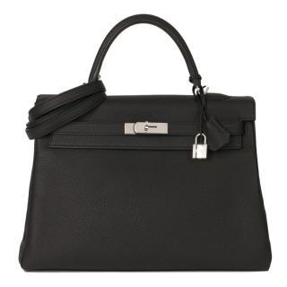 Hermes Togo Leather Black Kelly Retourne 35 PHW