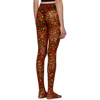 Gucci Red Leopard Print Runway Tights