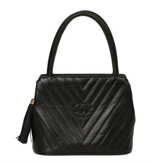 Chanel Black Chevron Leather Fringe Vintage Tote