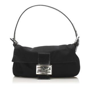 Fendi Black Nylon Baguette Shoulder Bag