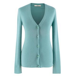 Prada Turquoise Cashmere Knit Cardigan