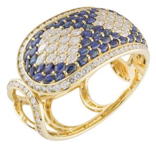 Bespoke Yellow Gold Sapphire & Diamond Cuff