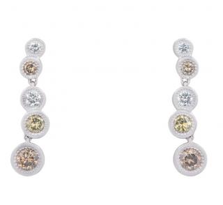 De Beers 18ct White Gold Diamond Droplet Earrings