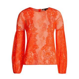 Maje Orange Lace Puff Sleeve Blouse