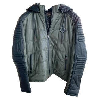 Philipp Plein Khaki Hooded Leather Jacket