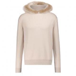 Loro Piana baby cashmere sweater with fur trimmed hood