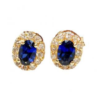 Bespoke 18ct Yellow Gold Diamond & Sapphire Earrings