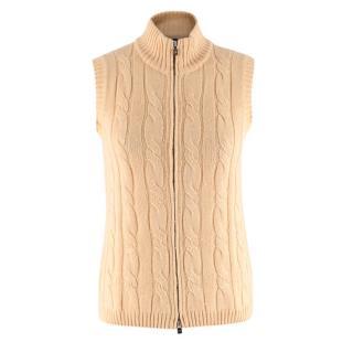 Loro Piana Yellow Silk & Cashmere Knit Zipped Vest