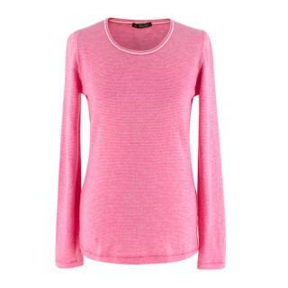 Loro Piana Pink Striped Cashmere Knit Sweater