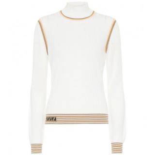 Fendi White Silk ribbed-knit sweater