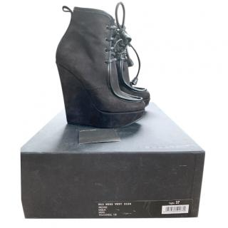 DSquared Black Suede Wedge Ankle Boots