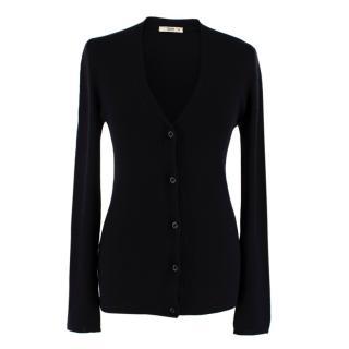 Prada Black Cashmere & Silk Knit Cardigan
