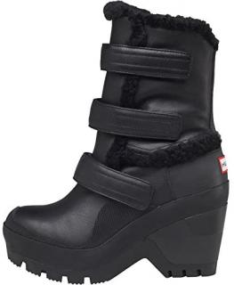 Hunter Black Shearling Lined Wedge Boots