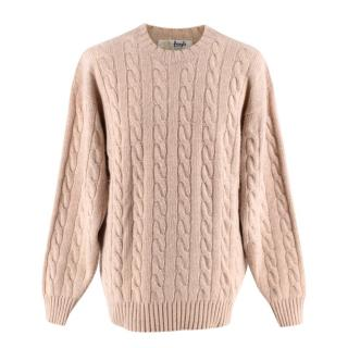 Pringle of Scotland Beige Cahsmere Cable Knit Oversized Sweater