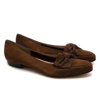 Salvatore Ferragamo Brown Suede Bow Detail Loafers