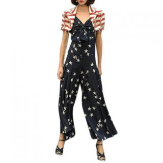 Chanel Blue Star & Moon Print Silk Top & Pants