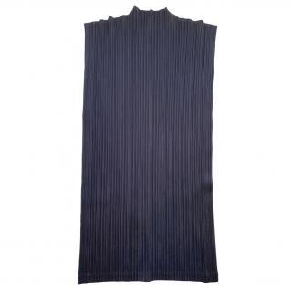 Issey Miyake Pleats Please Sleveeless Navy Mini Dress