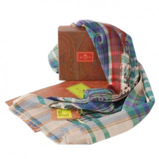 Etro Multicoloured Wool Tartan Scarf