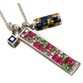 Gemma White Gold Triple Sapphire Pendant Necklace
